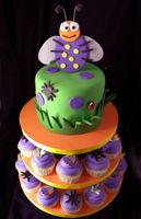 Bug or Insect Birthday theme cake w cupcakes