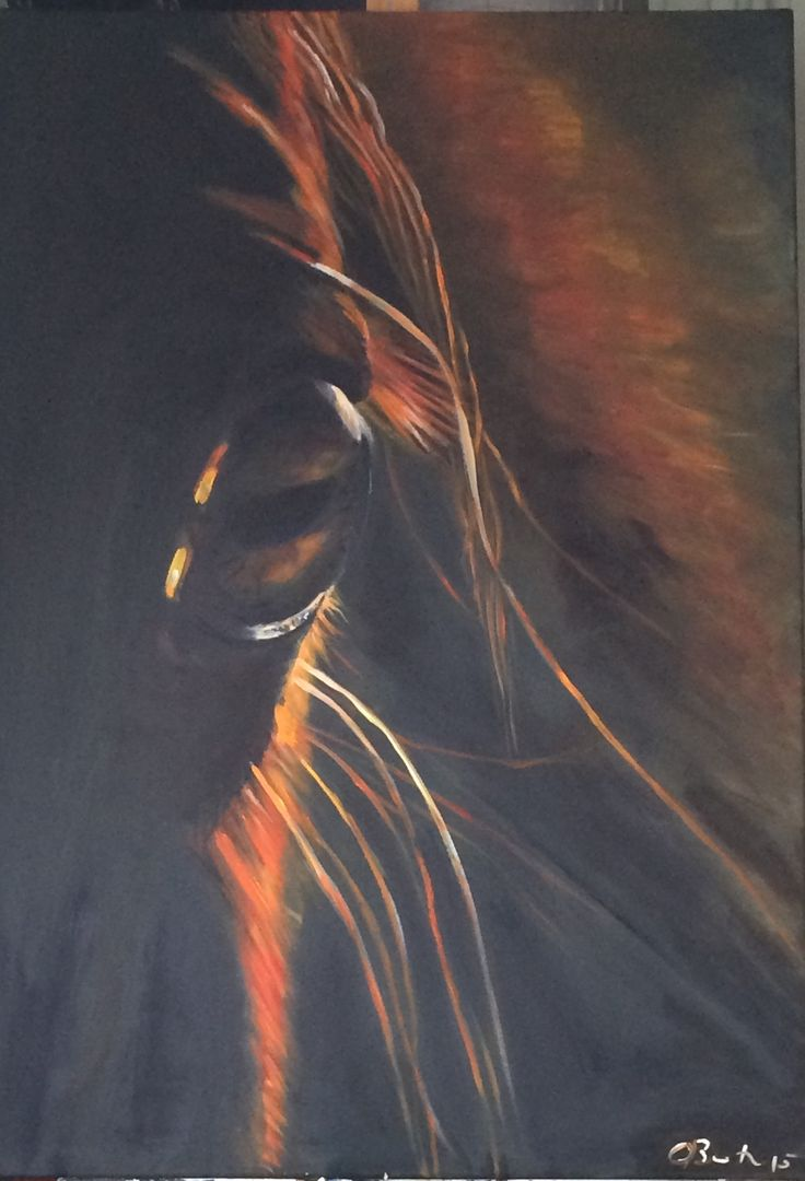 70 x 100 cm on canvas in acrylic. the window to the soul, the horse eye in the evening sun