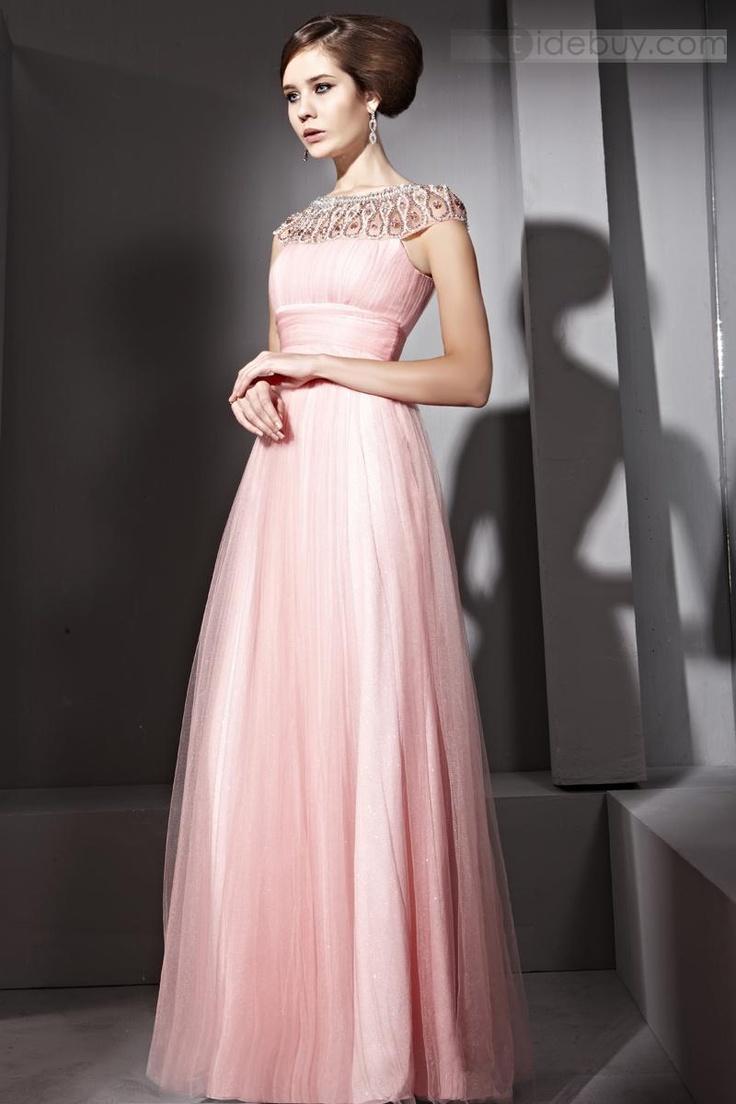 Elegant A-Line Floor-Length Jewel Evening Dress