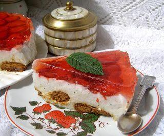 W Mojej Kuchni Lubię.. : sernik na zimno z miętą, truskawkami,galaretką...