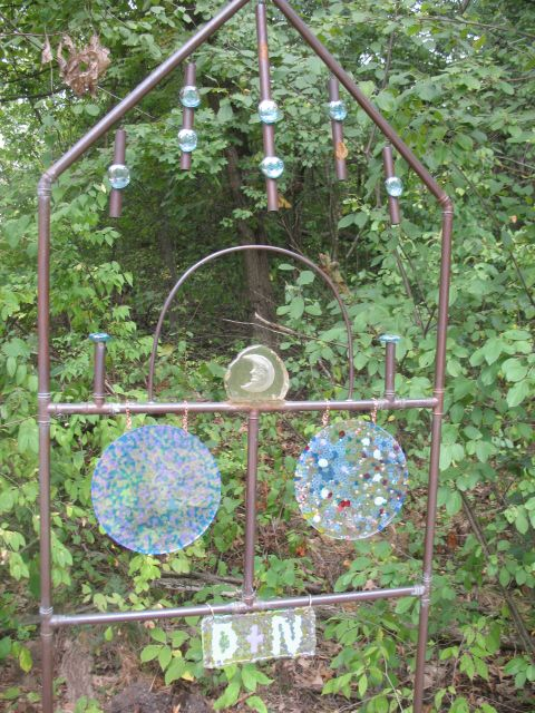 Copper Trellis With Melted Plastic Bead Sun Catchers