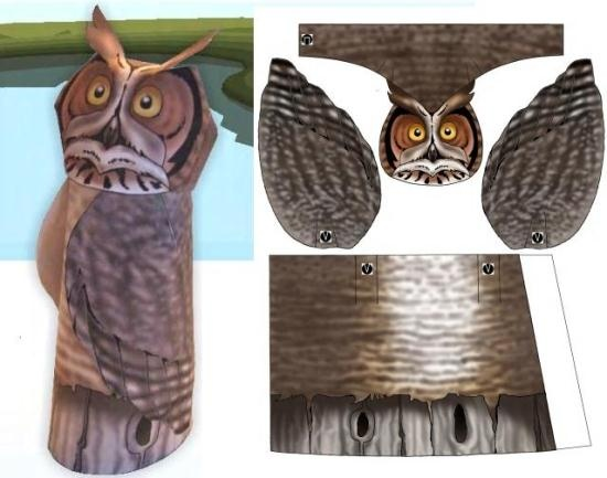Canadian Wetland Species - Great Horned Owl Paper Model - by Ducks Unlimited  ==          Build your own Great Horned Owl Paper Model, to decorate your desktop or shelf, by Canadian website Ducks Unlimited.