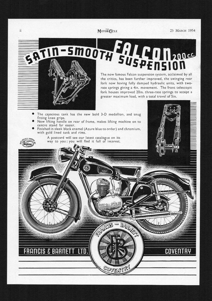 1954 FRANCIS BARNETT FALCON 200cc MODEL 67 MOTORCYCLE. MAGAZINE ADVERT.