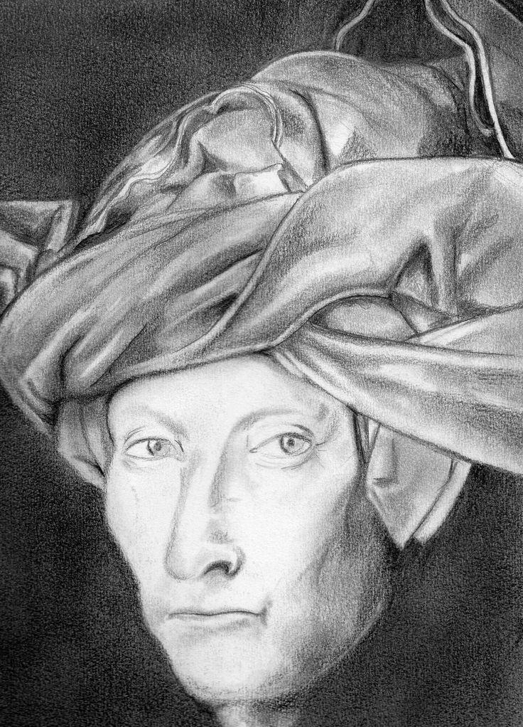 Versión del Hombre del turbante, grafito por Mauricio Pinilla