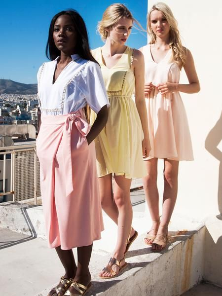 Pastel colours summer outfits / Pink faux wrap midi skirt / white kaftan tunic top / Lemon yellow resort style mini dress / Soft pink mini dress with waist belt