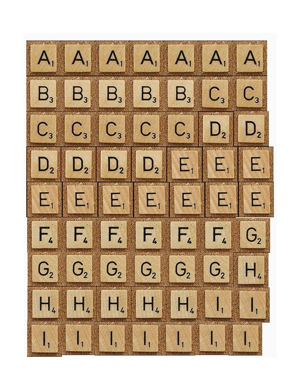 tutorial & printables: FAUX SCRABBLE LETTERS - print, adhere to chipboard, trim, & ink edges