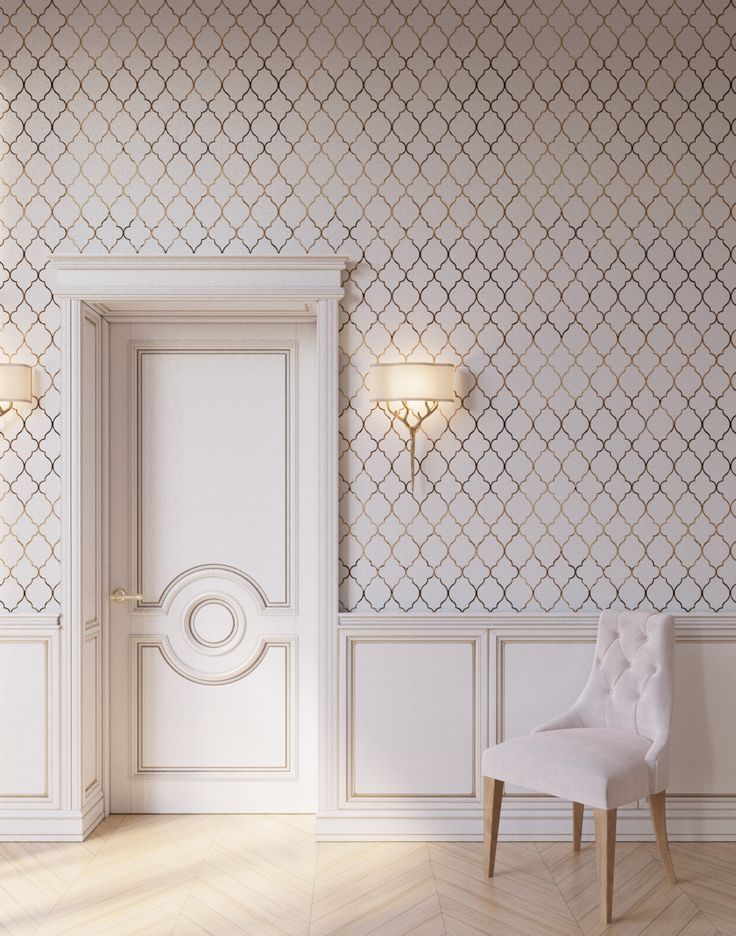 "Simple and elegant pattern of modern classic ""Alhambra"" wallpaper from ""Art of imitation"" collection by Yana Svetlova Wallcoverings"