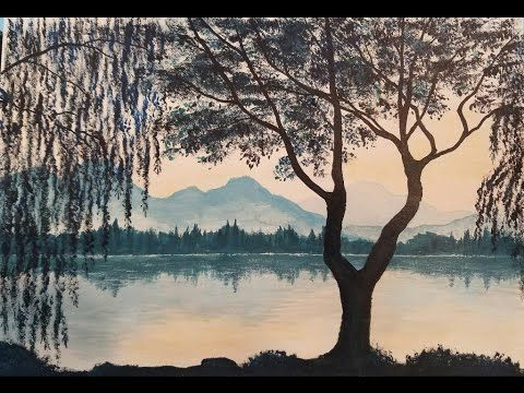 Weeping Willow Acrylic Painting Tutorial | How to Paint Trees and Water ...