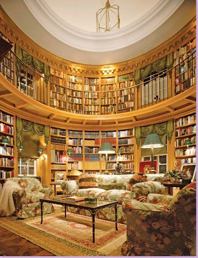 Private library, designed by Thierry W. Despont. @Michelle Gerrard-Marriott, let's get one!