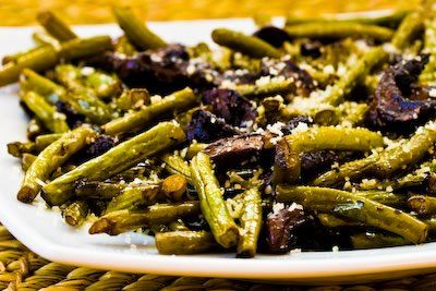 Delicious and easy Roasted Green Beans with Mushrooms, Balsamic, and Parmesan.  [Kalyn's Kitchen]