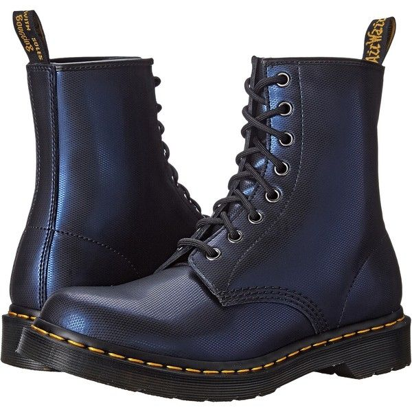 Dr. Martens 1460 Women's Lace-up Boots, Navy ($100) ❤ liked on Polyvore featuring shoes, boots, navy, platform boots, leather boots, laced boots, navy blue shoes and navy leather boots