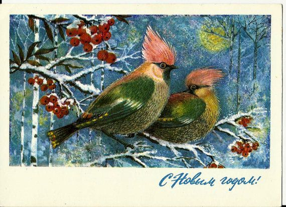 New Year Birds  Vintage  Russian Postcard by LucyMarket on Etsy, $3.99