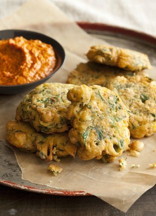 Spanish Chickpea Fritters with Romesco Sauce