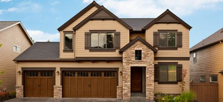 Exterior Color Scheme from BM. Rich brown trim color accentuates the stone entryway
