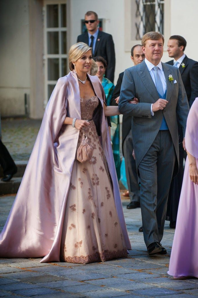 Queen Maxima attends the wedding of Juan Zorreguieta (her brother) and Andrea Wolf in Vienna