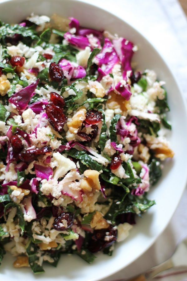 Raw Cauliflower Couscous with Kale, Cabbage, Walnuts, Dried Cranberries, and Lemon-Mustard Vinaigrette