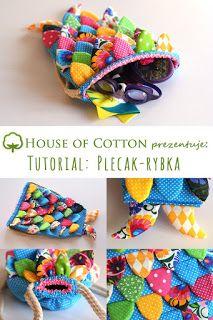 Plecaczek rybka uszyty z kolorowej bawełny tutorial DIY