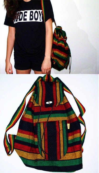 Rasta Knap Sack / Back Pack in Mint condition A tribe called Quest De La Soul Vibes 1990s Vintage Hippie Bob Marley. $26.50, via Etsy.