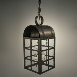 Northeast Lantern Culvert Top H-Bars Hanging Verdi Gris Medium Base Socket Seedy Marine Glass 6142