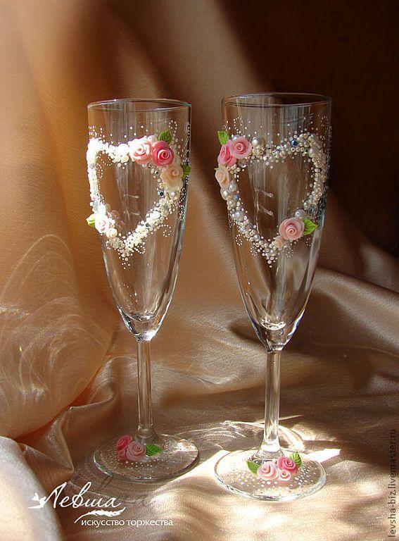 """Купить Свадебные бокалы """"Романтика лета"""" - свадебные бокалы, свадебные аксессуары, авторская работа"""