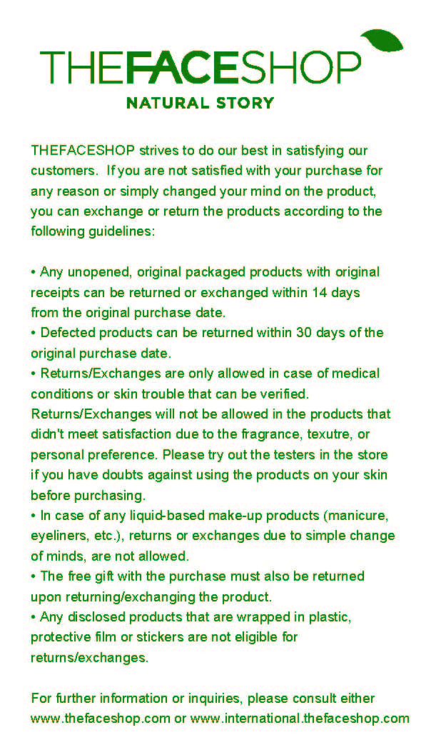 Custom Printed Receipt Paper - The Face Shop wanted to address improvements in customer service by giving every customer more info about store policies - and coupled that with building customer confidence and repeat store/web traffic.