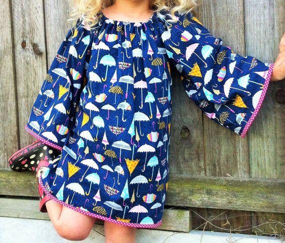 Regenbogen-Kleid Langarm Kleid Mädchen Kleid von AlexasBoutique2013