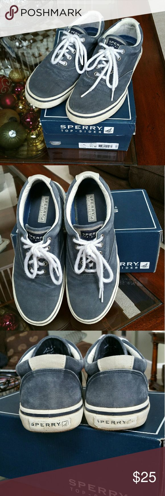 Sperry Top-Sider Mens Navy Canvas Shoes Sperry Top-Sider Mens Navy Canvas Slip On Boat Shoes Size 7 1/2. Pre-owned in good condition w/ box.  Shows normal wear on soles of shoes.  Please check all photos.  Thank you. Sperry Top-Sider Shoes Loafers & Slip-Ons