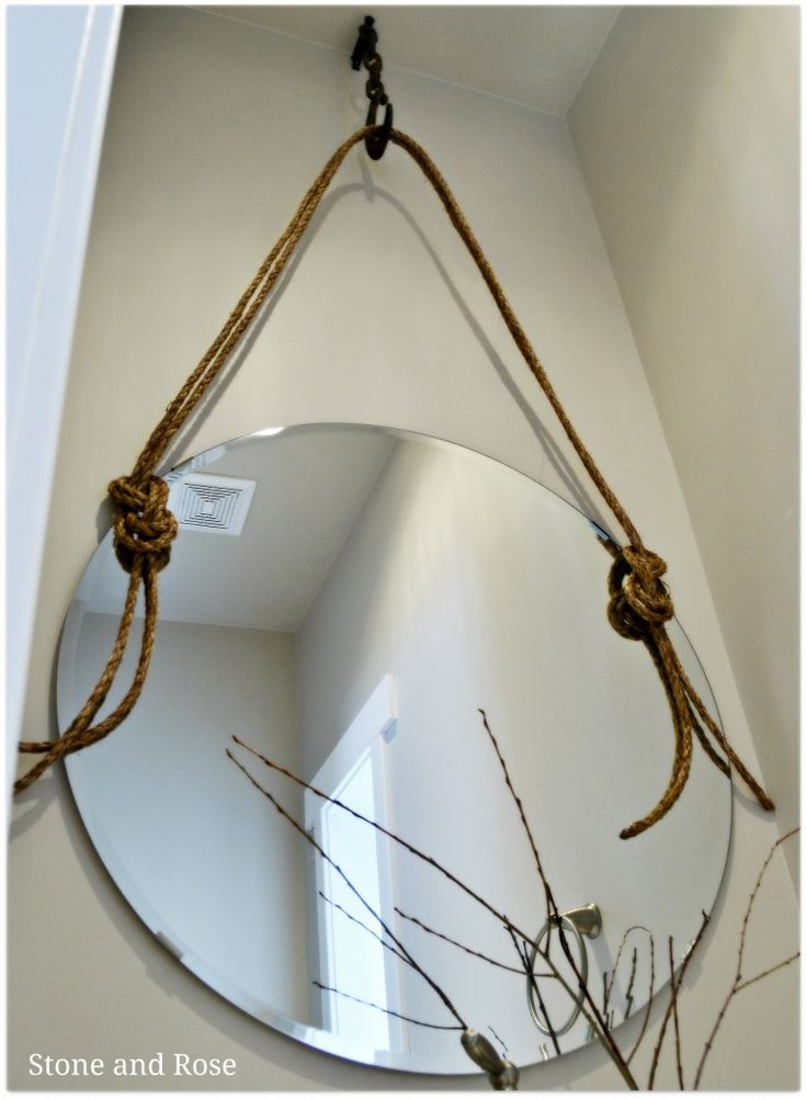 DIY rope round mirror inspired by one similar at Restoration Hardware