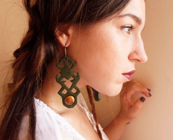 Gemstone earrings tribal earrings green earrings by TACEHandmade