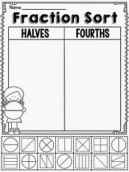 Fractions in First Grade - halves or fourths sort and other great fraction activities on this blog