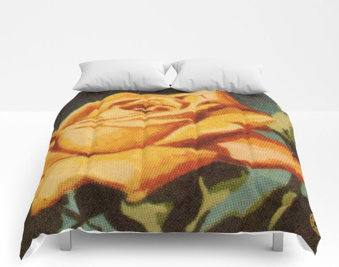 """Yellow Rose"" comforters on Society6"