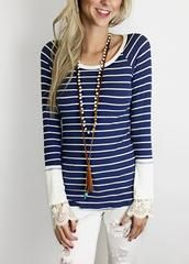 PRECIOUS idea for adding lace sleeve bottom or cuffs to a stripe t-shirt !!!