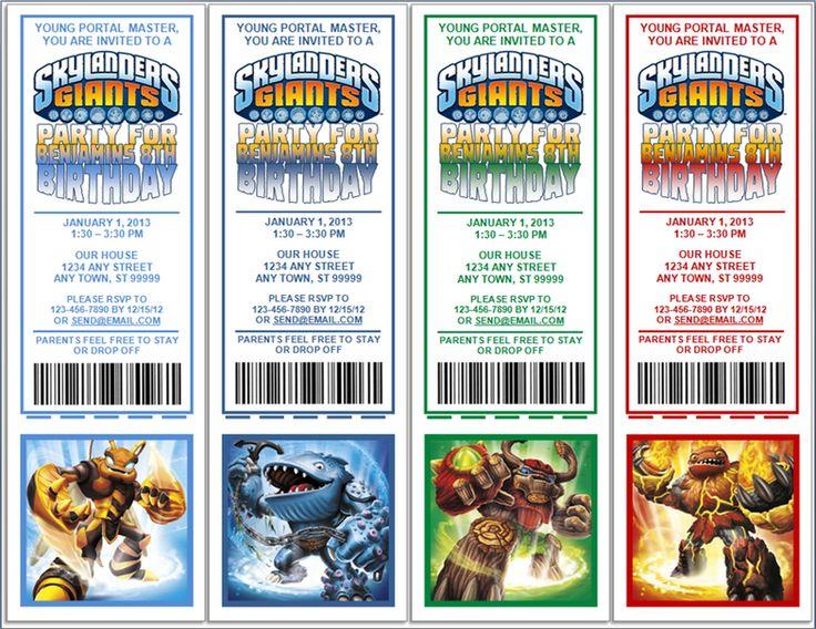 Free Printable Skylander Invitations