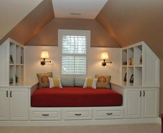 Attic space used well!! This could be a spare bedroom, or just a kind of den or maybe a child's bedroom, really well thought out!
