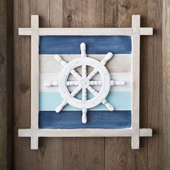 Nautical Themed Ship's Wheel Wall Decoration #nautical #walldecoration