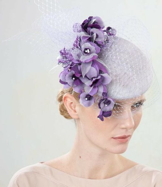 Jane Taylor Millinery, S/S 2014 - Alyssa- Medium Cocktail Hat with Orchid & Veiling.