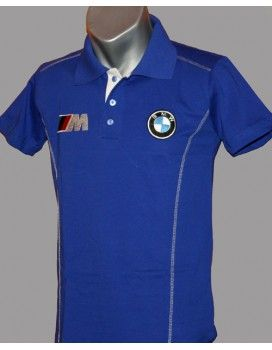 BMW Blue T-Shirt With Collar with embroidered logos from http://autofanstore.com