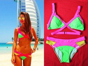 Kostium kąpielowy/ bikini damskie NEON ZIELONY doda siwiec swimwear swimsuit beach agent kardashian na plażę green