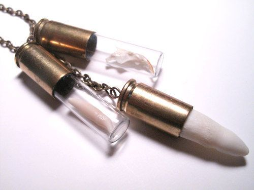 Bone Necklace - Animal Teeth and Bullets - Bone Jewelry