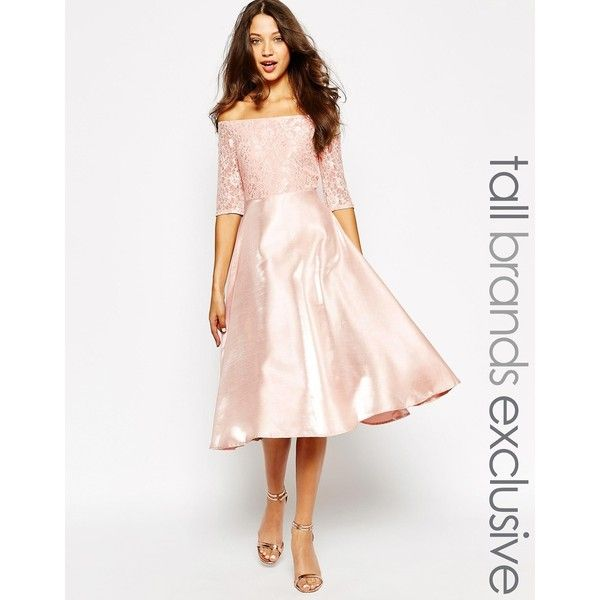 True Decadence Tall Satin Midi Prom Dress ($45) ❤ liked on Polyvore featuring dresses, soft pink, pink satin dress, midi cocktail dress, midi flare dress, midi dress and flared dress
