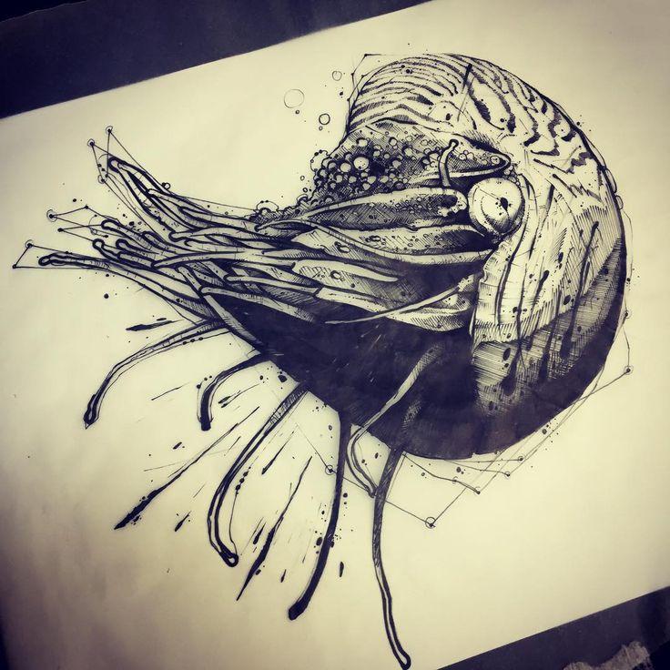 Nautile #ink #inked #tattoo #tattoos #tattooed #tattrx #btattooing #blackwork #dot #draw #drawing #equilattera #blackandwhite #blackworkers #iblackwork #dotwork #blxckink #sketch  #vsco #vscocam #darkartists #black #illustration #art #graphic #artoftheday #blackworkerssubmission #nautile #shell