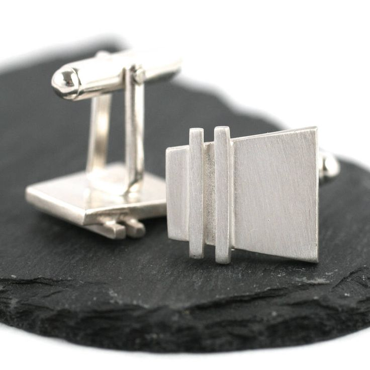Handmade Silver Deco Pinstripe Cufflinks