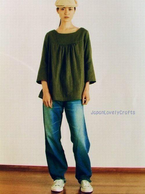 Plain cotton tunic top, japanese tunic, Linen & Cotton Natural Clothes - Japanese Craft Book - Kyoko Sakauchi - Sewing Pattern Dress, Womens Clothing - B224