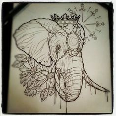 Unique large lion flower art tattoo on thigh