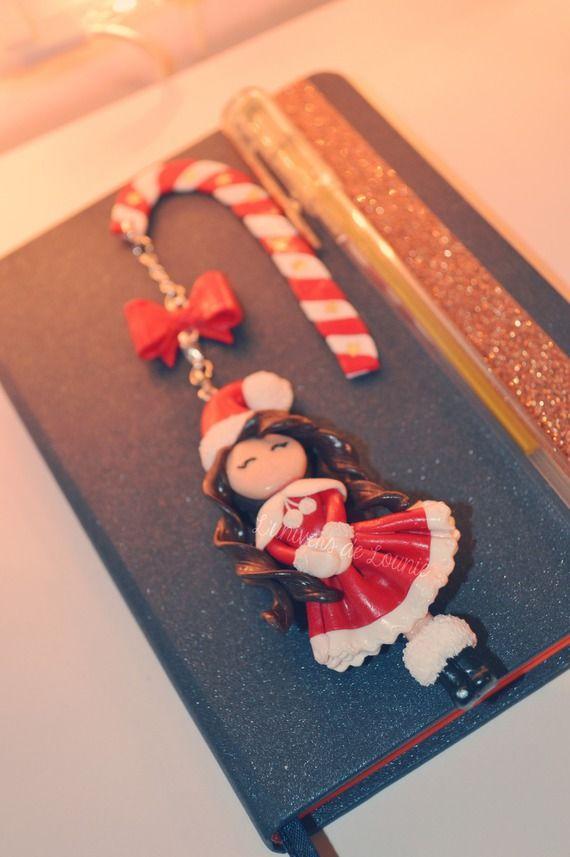 Marque page Mère Noël pâte polymère FIMO                                                                                                                                                      Plus