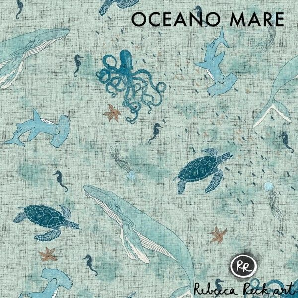 French Terry Knit Fabric - Ocean Animals - Rebecca Reck design printed on organic cotton knit. Ideal for sewing clothing and accessories.