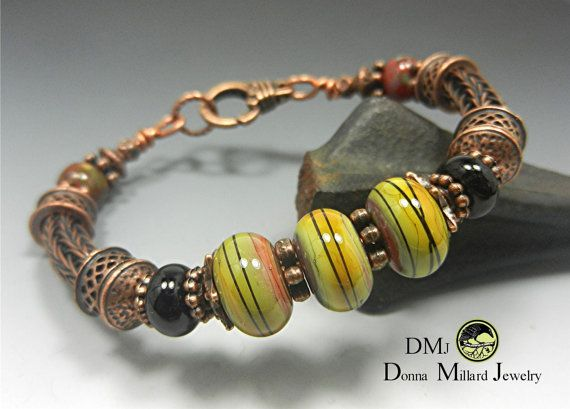 COPPER BRACELET Donna Millard SRA viking knit woven wire xmas gift gypsy boho fairy faerie fae christmas bohemian tribal green