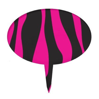 #stripes - #Pink zebra cake topper