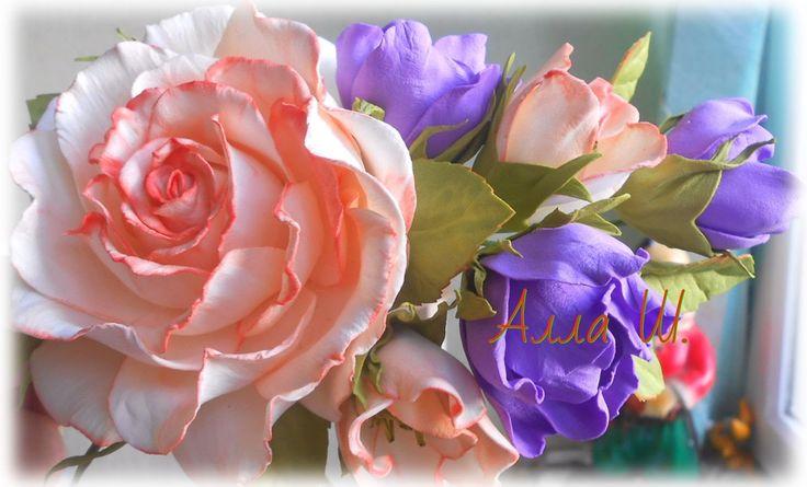 Цветы из фоамирана, мастер класс, простой способ создания украшения для ...