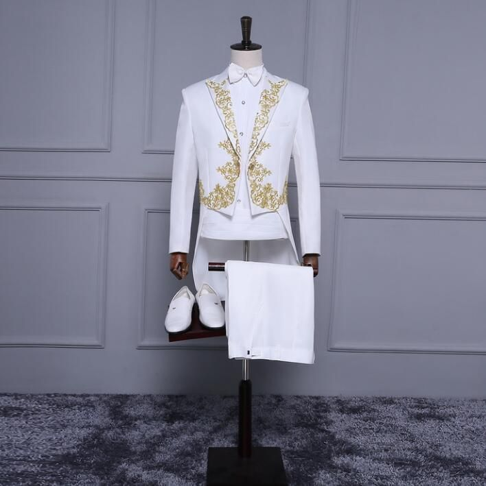 >> Click to Buy << White embroidered tuxedo blazer men formal dress suit men stage costume homme marriage wedding suits for men's jacket +pant+ tie #Affiliate